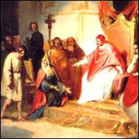 Enrique IV delante de Gregorio VII en Canossa