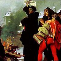 Martín Lutero quemando la bula del Papa León X