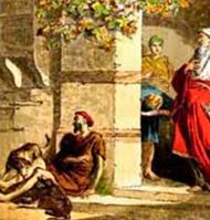 Y un mendigo llamado Lázaro estaba echado en su portal, cubierto de llagas